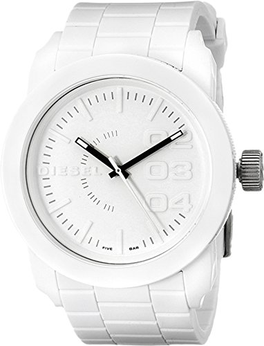 - Diesel Men's Double Down Quartz Stainless Steel and Silicone Casual Watch, Color: White (Model: DZ1436)