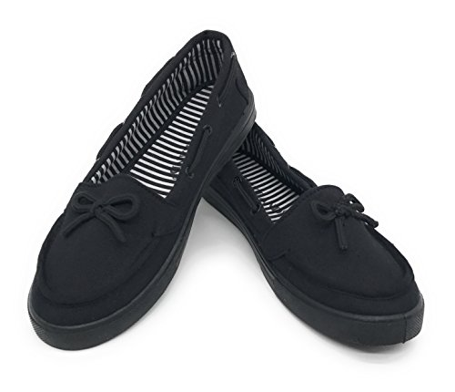 EASY21 Women Canvas Round Toe Slip on Flat Sneaker Oxford Boat Shoe,All Black,Size 6