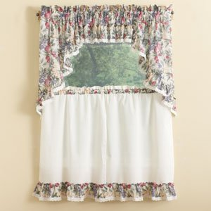 Ellis Curtain Kitchen Collection Harvest Fruit Ruffled Valance, Natural - Fruit Harvest Collection