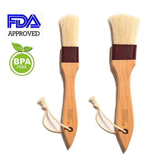 Wooden Pastry Brush Natural Bristle Set - MSART Basting /Food Brush, with Beech Wood Handle and Rope Hook, Great for Butter, Cookies, Oil, Bread, Frosting. Easy to Clean, 1 inch & 1.5 inch