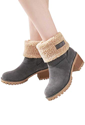 (Kssmi Warm Cute Women Winter Snow Ankle Boots Faux Fur Chunky Block Heel Short Booties 8.5 M US Grey)