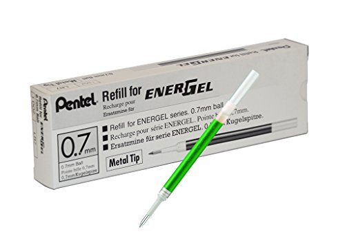 Pentel Refill Ink for EnerGel RTX Retractable Liquid Gel Pen, 12 Pack, 0.7mm, Medium Line, Lime Green (LR7-K)