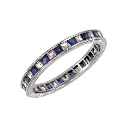 - Security Jewelers 14k White Gold Blue Sapphire & 1/2 CTW Diamond Eternity Band, 14kt White Gold, Ring Size 6