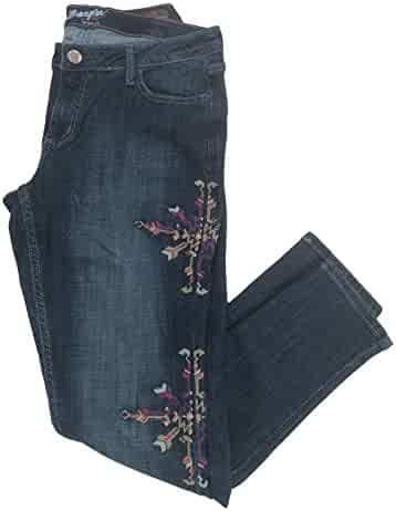 17d84c03 Wrangler Women's Premium Patch Mae Embroidered Skinny Leg Above The Hip Jean
