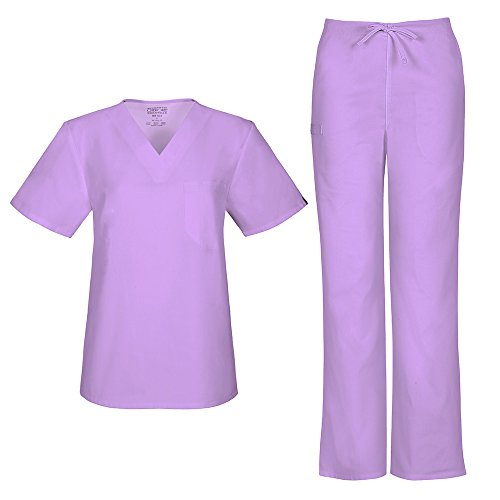 Cherokee Workwear Flex with Certainty Unisex V-Neck Top 34777A & Natural-Rise Drawstring Pant 34100A Scrub Set (Antimicrobial) (Vibrant Orchid - X-Small/Small)