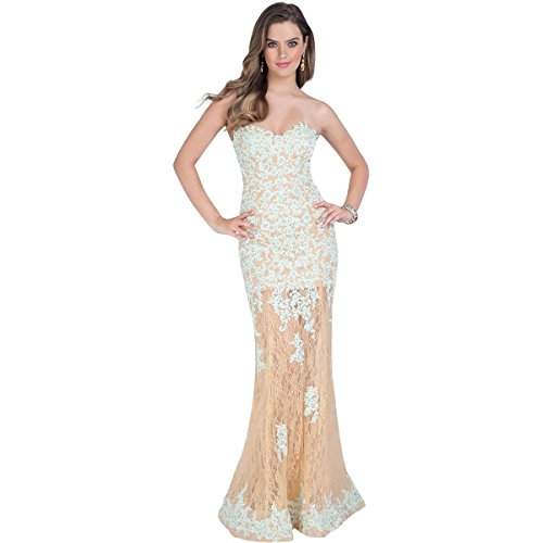 Terani Couture Lace Strapless Formal Dress Green 4