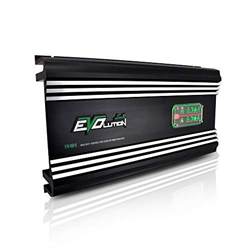 4,000 Watt Car Power Amplifier - 4-Channel SMD Class A/B MOSFET, RCA Input, Amp Power Supply, Bass Boost, Mobile Audio, Amplifier for Car Speakers, Car Electronics, Crossover Network - Lanzar EV484 -