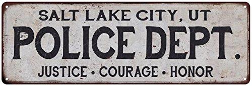 SALT LAKE CITY, UT POLICE DEPT. Vintage Look Metal Sign Chic Decor Retro - City Creek Lake In Salt City