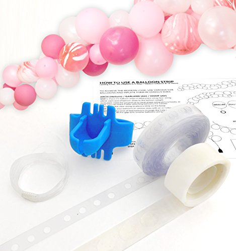 Balloon Arch Garland Decorating Strip Kit, Reusable Balloon Tape Strip 16ft, Tying Tool, Dot Glue, String. Super Easy to Make New Style Balloon Arch Garland - by Tokyo Saturday (Balloon Arch Kit)
