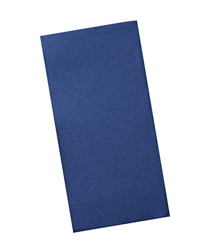 Navy Napkins | Linen Feel Disposable Cloth Like Paper Dinner Napkins | Hand Towels | Soft, Absorbent, Paper Hand Towels for Bathroom,Kitchen,Parties,Weddings or Events | 50 Pack ()