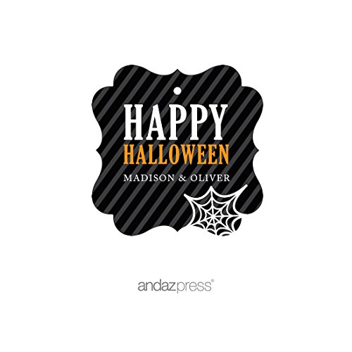Andaz Press Classic Black and Orange Halloween Party Collection, Personalized Fancy Frame Gift Tags, 24-Pack, Custom Name ()