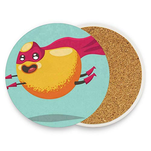 LoveBea Cartoon Cock Coasters, Prevent Furniture from Dirty and Scratched, Round Wood Coasters Set Suitable for Kinds of Mugs and Cups, Living Room Decorations Gift Set of 4 ()