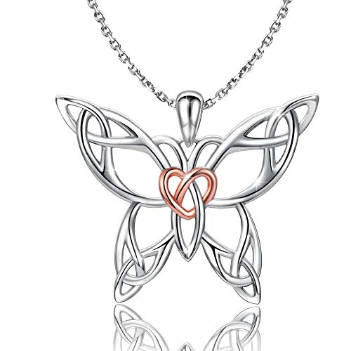 (MANBU 925 Sterling Sliver Celtic Jewelry - Butterfly Heart Necklace Irish Knot Pendant for Girls Ladies Women)