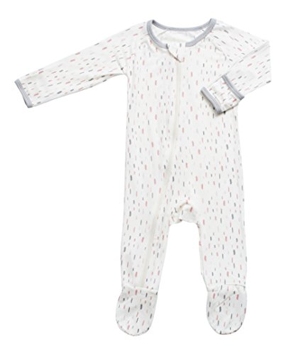 BESTAROO Baby Pink Feathers Zippered Footie 0-3m - Lycra Feather