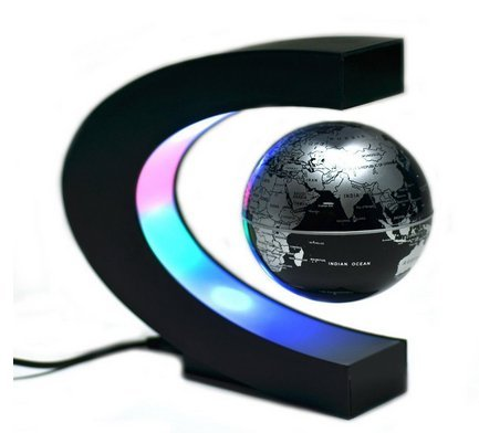 (AnnyMart Magnetic Levitation Floating World Map Globe with LED Lights for Learning Education Teaching Demo Home Office Desk Decoration Business Festival Gifts (Silver/Black Globe))