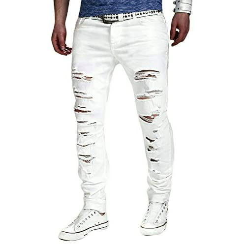 Cheap Fensajomon Mens Summer Ripped Solid Color Mid Waist Denim Jeans Pants free shipping