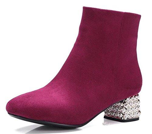 Easemax Kvinners Elegante Lette Solid Firkantet Tå Side Glidelås Lav Hæl  Faux Suede Ankel Boots Red
