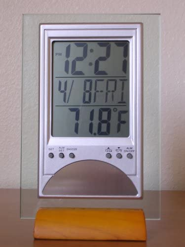 Elegant Contemporary Style LCD Table Clock – Beech