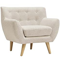 Farmhouse Accent Chairs Modway Remark Mid-Century Modern Accent Arm Lounge Chair with Upholstered Fabric in Beige farmhouse accent chairs