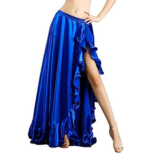 ROYAL SMEELA Belly Dance Costume for Women Belly Dancing Skirts Slit Ruffle Maxi Skirt Dance Dress Bellydance Dancer Outfit Dark Blue