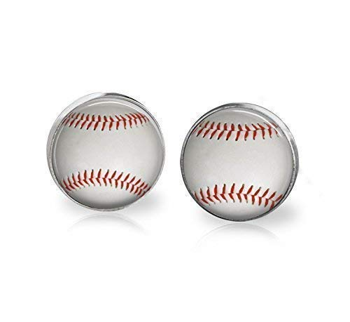 Baseball Ball Illustration Studs Handmade Earrings Stainless Steel 12mm Hypoallergenic.