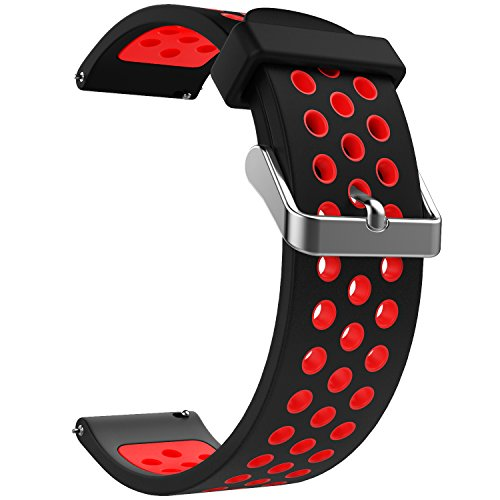 Emibele 20mm Universal Watch Band, Premium Soft Silicone Adjustable Replacement Strap for 20mm Sport Strap, Black & Red
