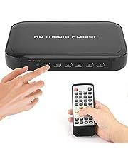 HDMI-multimediaspeler, 1080P mini HDMI-multimediaspeler, ondersteuning voor SD / MMC-kaart, U-schijf, mobiele harde schijf digitale multimediaspeler voor thuisbioscoopsysteem (EU)