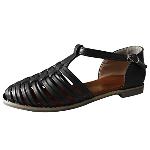 ◕‿◕Water◕‿◕ Women's Sandals,Womens Roman Ankle Strap Cage Closed Toe Flat Sandals Casual Shoes Beach Walk Shoes Black ()