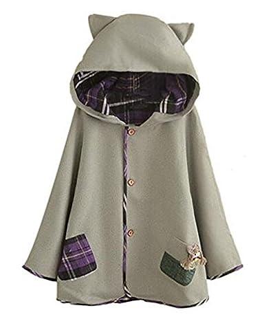 hqclothingbox Women's Cute Button Down Tweed Cat
