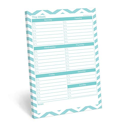 321Done Weekly Checklist Notepad - 50 Sheets (5.5 x 8.5) - This Week to Do Notepad Tear Off Planning Pad, Planner Checklist Organizing - Made in USA - Chevron Teal