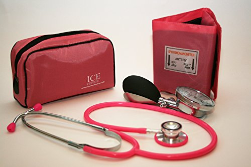 Aneroid Pink Sphygmomanometer With 1 Adult Cuff and Pink Stethoscope - Blood Pressure Monitor Kit