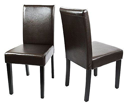 XtremepowerUS Urban Solid Wood Leatherette Padded Cushion Parson Dining Chair Brown, Set of (2) ()