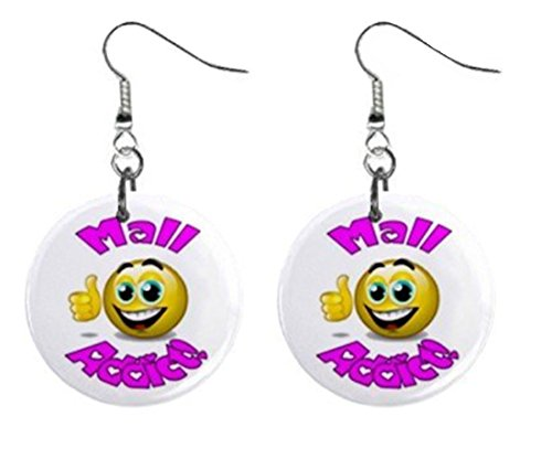 Mall Addict Novelty Dangle Button Earrings Jewelry 1 inch Round 14006614