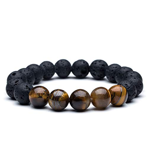 CUTEDAY Men's Bead Bracelets Bangles 12Mm Tiger Eye Lava Natural Stone Beads Strand Bracelet Braclet for Male Jewelry Accessories Lava Stone 18cm from CUTEDAY