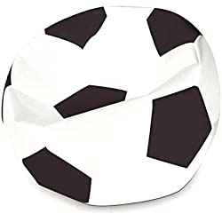 Ehonestbuy Soccer Ball Kids' Bean Bag Chair Cover, Colorful Max Fabric Stuffed Animal Bags Toy Organizer for Kids Bedroom, Storage Solution for Plush Toys, Towels & Clothe, 27.5 Inches (Black White)
