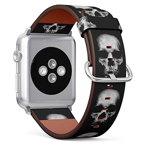 (Scary Skull?Spooky Halloween Theme) Patterned Leather Wristband Strap for Apple Watch Series 4/3/2/1 gen,Replacement for iWatch 38mm / 40mm Bands ()