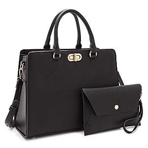 Dasein Women Handbags Fashion Satchel Purses Top Handle Tote Work Bags Shoulder Bags with Matching Clutch 2pcs Set