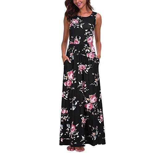 ASOBIMONO Women's Sleeveless Loose Plain Floral Maxi Dress Summer Casual Empire Waist Pleated Long Dresses with Pockets Black
