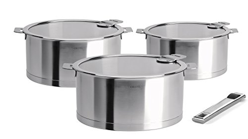 Cristel Strate Removable Handle Set of 3 Saucepans with Lids