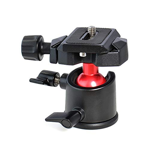 Tabletop Tripod Mini Desktop Travel Tripod Aluminum Alloy with 360 Degree Ball Head and Quick Release Plate Lightweight and Portable Compatible withCompact Cameras DSLRS/Smartphone/Action Cameras