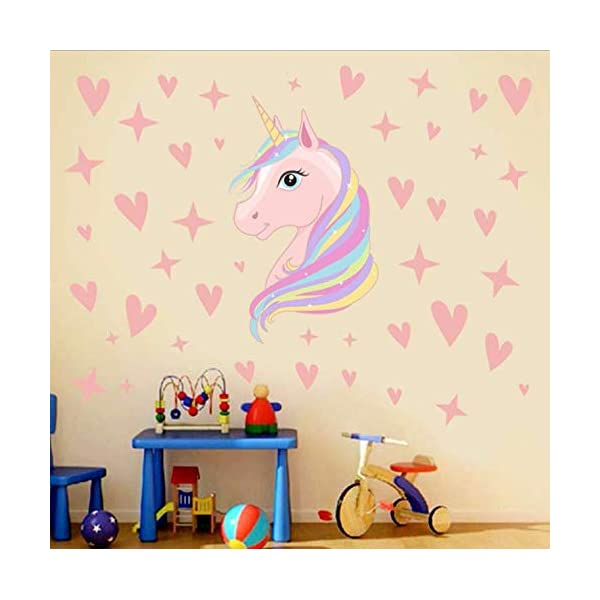AIYANG Unicorn Wall Decals Stars Love Hearts Wall Stickers for Baby Girls Bedroom Playroom Decoration 4