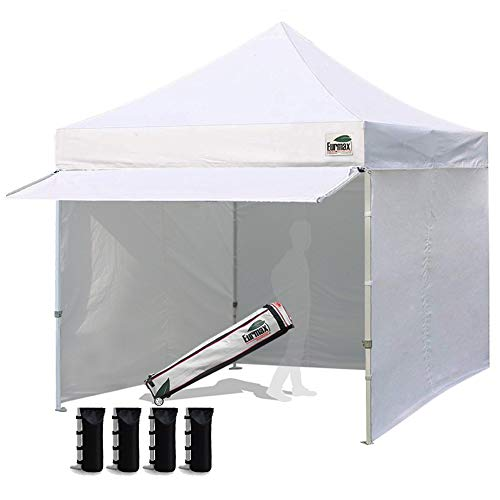 (Eurmax 10 x 10 Pop up Canopy Commercial Tent Outdoor Party Canopies with 4 Removable Zippered Sidewalls and Roller Bag Bonus 4 Canopy Sand Bags & 24 Squre Ft Extended Awning(White))