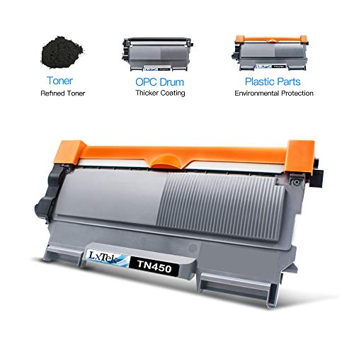 LxTek Compatible Toner Cartridge Replacement for Brother TN-450 TN450 TN420 to use with MFC-7360N DCP-7065DN IntelliFax 2840 2940 MFC-7860DW MFC-7460DN HL-2270DW MFC7240 Printer (Black, 4 Pack)