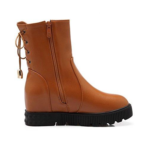 Naisten Suljetun Pu Boots Ympäri Vankka Pentu selin Toe Vetoketju Agoolar Ruskea PdSCqwS