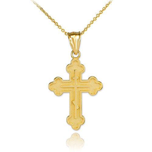 Religious Jewelry by FDJ Solid 14k Gold Eastern Orthodox Cross Charm Pendant Necklace, 20
