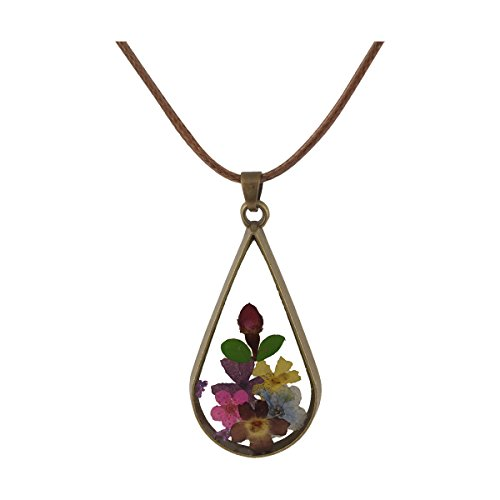 FM42 Multicolor Pressed Flower Teardrop Pendant Necklace FN4133 (Teardrop Flowers Pendant)