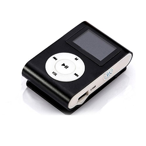 JACKY USB Clip MP3 Player LCD Screen Support 32GB Black Micro SD TF Card...