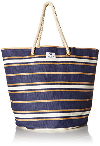 (Roxy Sunseeker Beach Tote, medieval blue macy stripe swim)