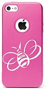 iPHONE 5C BEE HONEY BEE BUMBLE BEE INSECT POLLINATORS ALUMINUM AND SILICONE PROTECTIVE CASE (PINK)