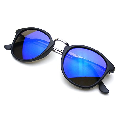 Round Flash Mirror Steampunk Inspired Horned Rim Dapper Sunglasses - It Review Sunglasses
